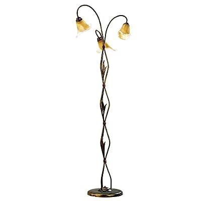 ONLI Forgiata – Lampada da Terra 3 Luci, Vetro opaco color Ambra, Metallo Marrone spennelato Oro, metallo;vetro