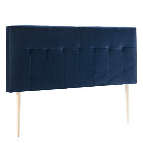 marckonfort Cabezal tapizado Nápoles 140x100 cm Azul Oscuro, para Cama 135, Terciopelo, Patas de Madera, herrajes incluidos