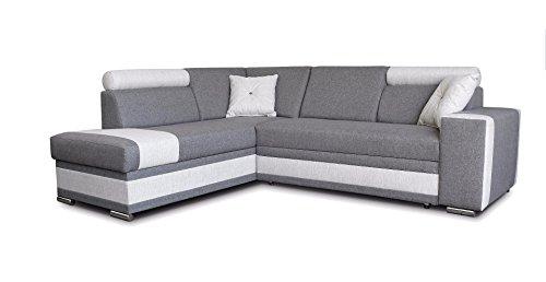 große Ecksofa Sofa Eckcouch Couch mit Schlaffunktion und Bettkasten Ottomane L-Form Schlafsofa Bettsofa Polstergarnitur - JACKSON (Ecksofa Links, Grau)