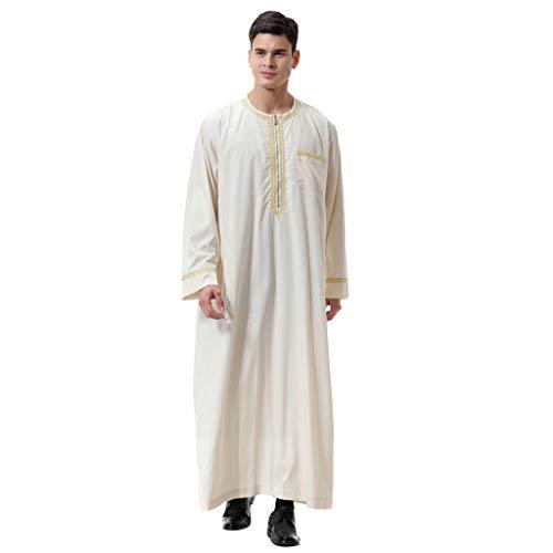Preisvergleich Produktbild WWricotta Men Casual Zipper Oversize Long Sleeve Loose Ankle-Length Embroidery Top Blouse(Beige, L)