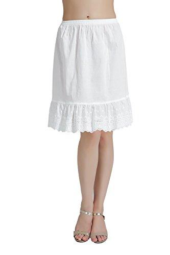 BEAUTELICATE Damen Unterrock 100% Baumwolle Vintage Kurz Halbrock Mit Spitze Knielang Dirndl Petticoat Elfenbein 55CM Größe S M L