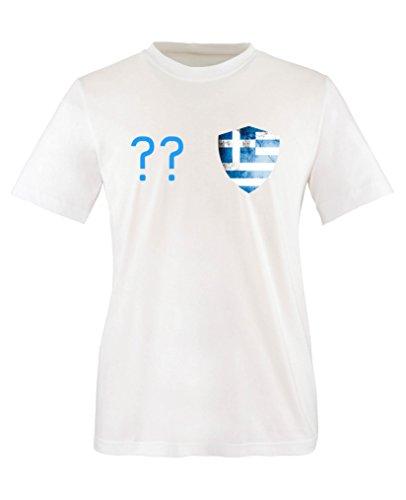 Comedy Shirts – Griechenland Trikot – Wappen: Klein – Wunsch – Kinder T-Shirt – Weiss / Blau Gr. 98-104