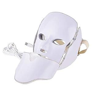 iBaste 7 Farben Photon LED Maske Schönheit Lichttherapie Gesichtsmaske für Gesicht Hals Anti-Falten Akne Entfernung Hautverjüngung Poren schrumpfen Ölige Haut verbessern Akne Remover