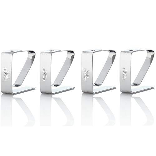 Kerafactum 4 STÜCK Tischtuch Klammer Tischdeckenklammer Tischtuchklammer aus Edelstahl Klammer zum Befestigen der Tischdecke Deckenklammer Tuchklammer Klemme Klemmen Silber 5 x 4 cm