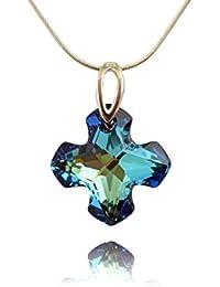 dea98f48aeb44 Crystals   Stones Cruz de   Bermuda Blue       – Colgante con Cadena de  plata de plata de ley 925 con Swarovski®…