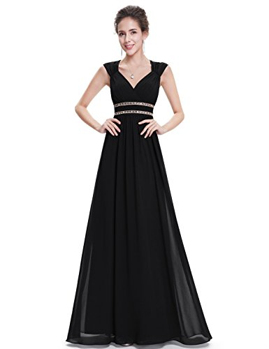 Ever Pretty Damen Elegant V-Ausschnitt Ärmellos Lang Abendkleid 08697 Schwarz