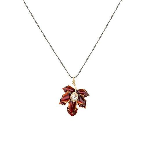 Z&HA Lange Halskette Für Frauen Kleid Halskette Perlenkette Tropft Emaille Glasierte Rote Herbst Ahornblatt Anhänger Neuheit Schmuck Kleidung Ornamente