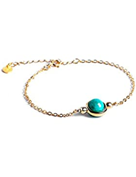 Dalwa 14K Gold Gefülltes Damen Armband aus 925 Sterling Silber mit Edelstein türkisem Amazonit inkl. Geschenkverpackung