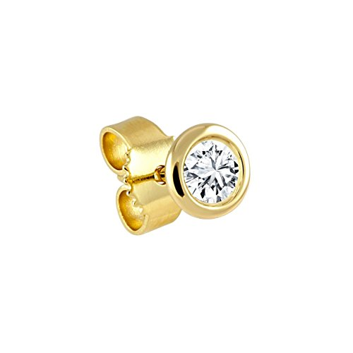 Diamond Line Herren - Ohrstecker 585er Gold 1 Diamant ca. 0,10 ct., gelbgold