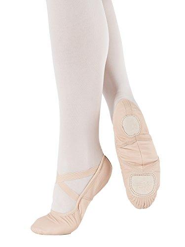 SD110-C So Danca Schläppchen - mittlere Weite - Superpro Ballett Turn Gymnastik Sport Tanz Fitness, Leder mit Stretch Nylon Einsatz Pink