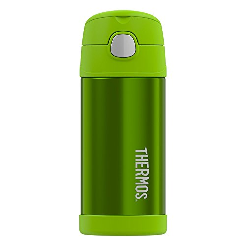 Grüner-tee-flasche (THERMOS 4030.601.035 Isolierflasche FunTainer, Edelstahl Grün 0,35 l, inkl. Trinkhalm, BPA-Free, 12 Stunden kalt)