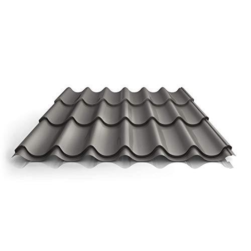 Pfannenblech | Ziegelblech | Dachziegelblech | Profil PA47/1060RT | Material Aluminium | Stärke 0,70 mm | Beschichtung 25 µm | Farbe Graualuminium