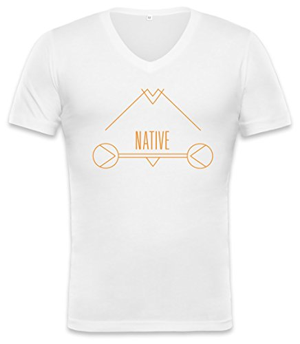 Native Hipster Indian Word Unisex V-neck T-shirt Large -