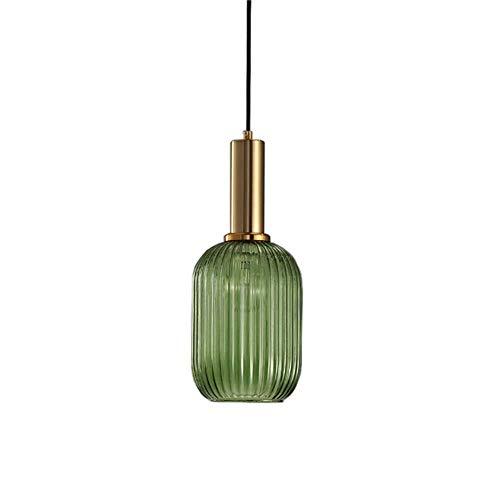 ZGHOME Industrielle Vintage Mini Anhänger Beleuchtung modernen Retro-Stil Drop Decke Hängelampe Glasschirm mit Messing poliert Lampenfassung,Green -