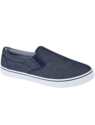 58bb8292816 Mens Boston Canvas Slip On Casual Plimsoll Espadrille Pumps Loafers Deck  Trainers Shoes Size 7-