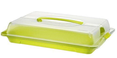 Kuchen-boxen (Rotho 1714605070 Partybutler Partycontainer John gross aus Kunststoff mit Deckel und Tragegriff, BPA schadstofffrei, circa 43,5 x 29,5 x 9 cm, transparent/grün)