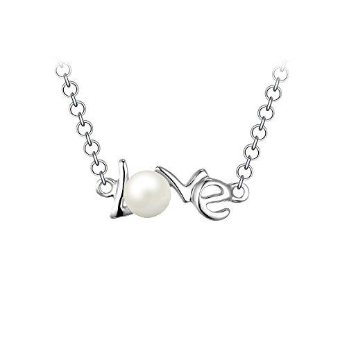 JewelryPalace Love Runde 5mm Süßwasser kultivierte Perle Kette Choker Halskette 925 Sterling Silber 18 Zoll Allianz China
