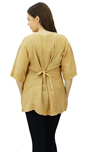 Bouton Vers Le Bas Top Femmes Chemise Occasionnels Vêtements Rayonne Porter Manches 3/4 Boho Marron Clair