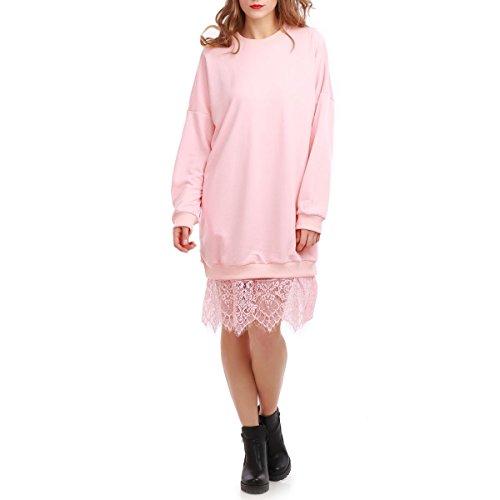 La Modeuse - Robe sweat mi-longue avec empiècement dentelle Rose