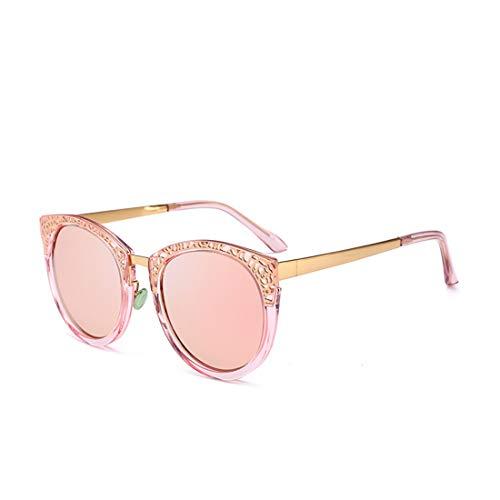 Stilvolle Retro Hollow Design UV-Schutz Sonnenbrillen für Frauen. Brille (Farbe : Rosa)
