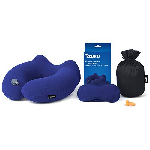 IZUKU Reisekissen Ideal für Reise Büro und Haus Nackenkissen mit stützenender Funktion Aufblasbares Nackenhörnchen mit Dem egornomischen Entwurf Weiches Nackstützenkissen(Marineblau) -
