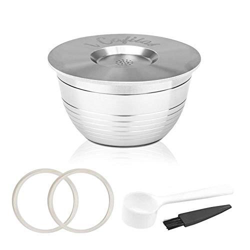 AUOKER Edelstahl-Kapseln, nachfüllbar, wiederverwendbar, Kaffee-Filter, Nachfüll-Becher, Kapseln für Nespresso-Kaffeemaschine, mit 1 Kaffeelöffel, 1 Bürste und 2 transparenten Ring