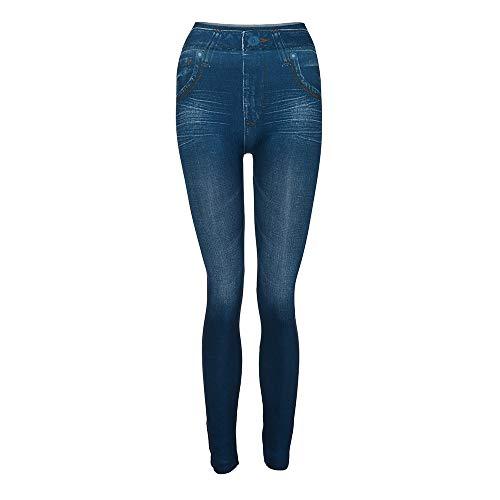 JYJM 2018 Frauen Frauen Denim Hosen Tasche dünne Leggings Fitness Plus Size Leggins länge Jeans Yoga Hose Bio-Baumwolle Yogahose aus BaumwollePumphose mit Stretch-Bund und Zwei praktischen Taschen