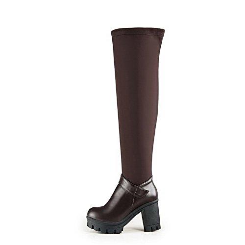 AllhqFashion Damen Hoch-Spitze Reißverschluss Hoher Absatz Rund Zehe Stiefel mit Metallisch Braun