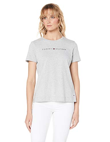 Tommy Hilfiger Damen TH ESS Hilfiger Crew Neck Tee SS T-Shirt, Grau (Light Grey Htr 039), Medium (Herstellergröße:M) -
