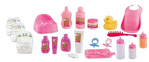 KSS Puppenset 23 Teile Zubehör für Puppen Aller Größen mit Trinkflasche Windeln Töpfchen und vieles mehr... Geschenkset