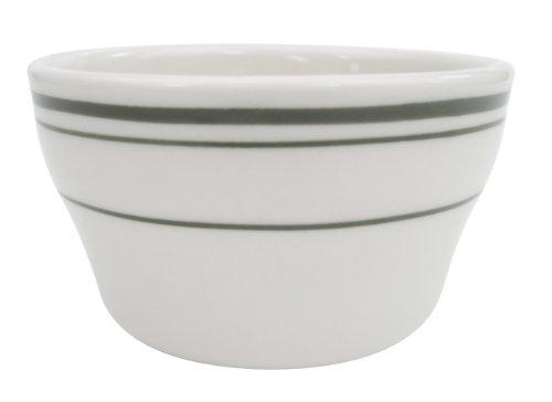 CAC China American White Stoneware Bouillon 4-Inch(7.25-Ounce) Green Band/American White; Creamy White; Off White China Bouillon