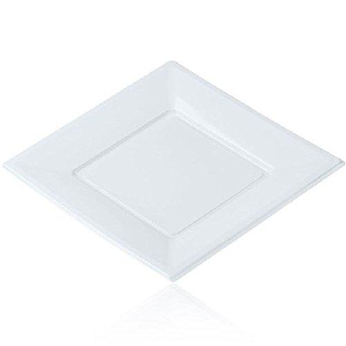 vaisselle jetable - Assiette plastique carré X12 Pm - Blanc