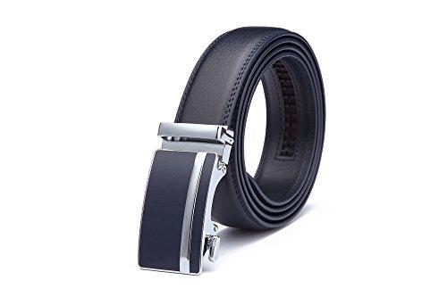 Miuno® - Cinturón de hombre de auténtico cuero con hebilla ajustable de cierre automático, en caja de regalo - 1511N Azul azul navy