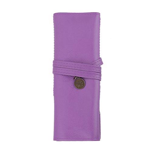 Pochette Rouleau de Stylo Sac Cosmétique Porte-brosse de Maquillage Rétro Violet