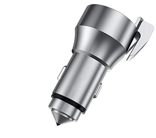 omufipw Auto Dual USB Ladegerät Adapter mit Sicherheitshammer Cutter Universal Smartphone Fast Charger -