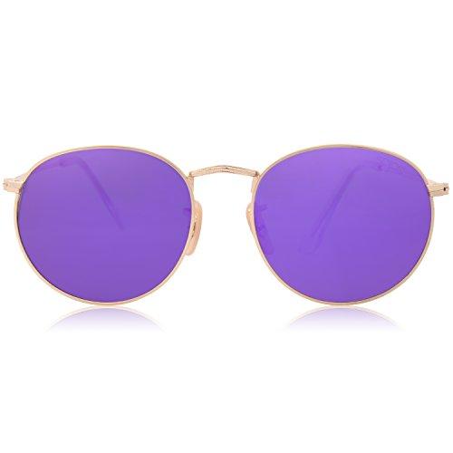 SOJOS Mode Rund Polarisiert Damen Herren Sonnenbrille Mirrored Lenses Unisex Sunglasses SJ1014 mit Gold Frame/Violett Lens
