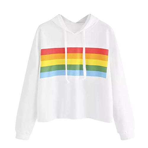 TWIFER Frauen Bunte Gestreifte Panel Hoodie Sweatshirt Pullover