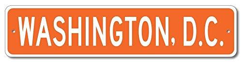 Aluminium Schild Washington, D.C. U.S.A. Custom America City and State Namenschild Orange Dekoratives Blechschild Wanddekoration (Custom Dc)