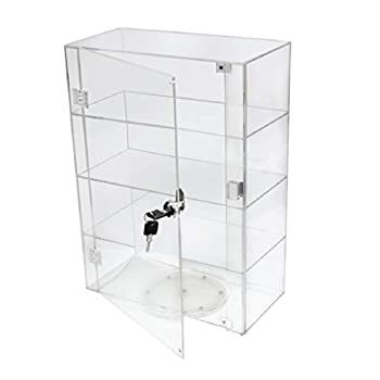 PC3721 ® 1 High Gloss Clear Acrylic Display Case with Front Door & Security Lock and Turntable fixed DB089TT-8IN