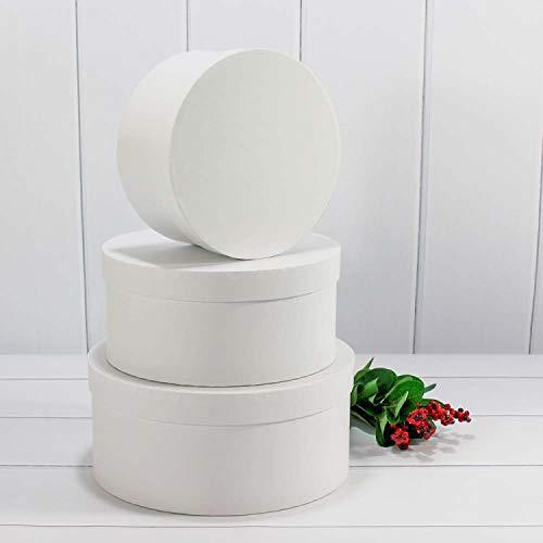 VIPOLIMEX 3er Set runde Blumenboxen mit Kordel, Aufbewahrungsbox mit Deckel, unifarbene Hutschachtel, Geschenkboxen, personalisierbar (Weißfarbe) Runde Box