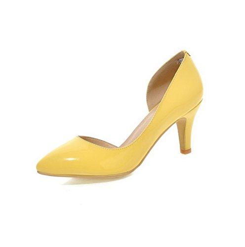 AllhqFashion Femme à Talon Haut Couleur Unie Tire Verni Pointu Chaussures Légeres Jaune