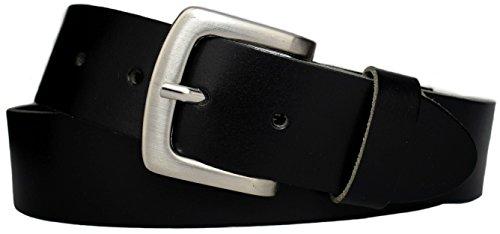 Ledergürtel schwarz 4 cm breit AUS EINEM STÜCK LEDER = 100% Rindleder – Ledergürtel Herren - Jeansgürtel schwarz – Herrengürtel – Leder Gürtel - Männergürtel