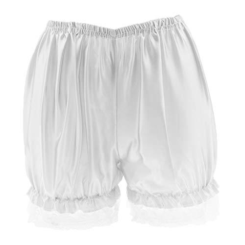 IPOTCH Damen Hose Unter Rock Kurz Leggings Sicherheits Shorts mit elastisch Taillen - Weiß Spitze, M Bloomers Boyshort