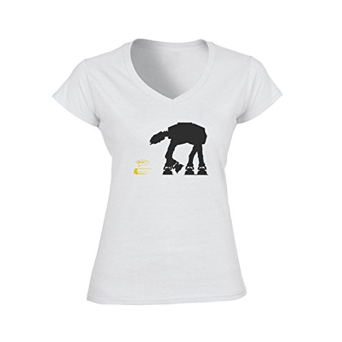 Robot Metal Cyborg Cartoon Star Wars Yellow R2D2 Running From Black Monster Damen V-Neck T-Shirt Weiß