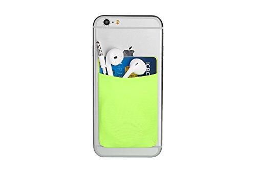Cerbery® | Smartphone Kartenhalter | Auto Etui Fingerhalter Fitness Folie Halter Halterung Handy Hülle Kartenhülle Kopfhörer Sport | Kompatibel mit Apple iPhone 7 8 X Samsung Galaxy (Neongrün)