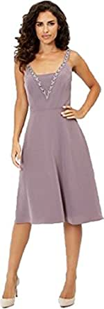 Monsoon Evening Wedding Embellished Dress Loki Mink Mauve Bridesmaid Dress UK 8