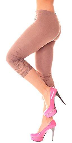 Easy Young Fashion Damen 3/4 Leggings Spitze Hellbraun