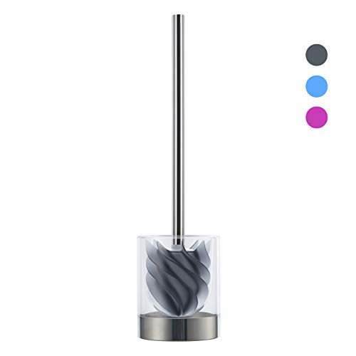 LOOMAID Silikon WC-Bürste mit Lotuseffekt - hygienische Edelstahl Toilettenbürste, Klobürste mit transparentem Halter (Grau)