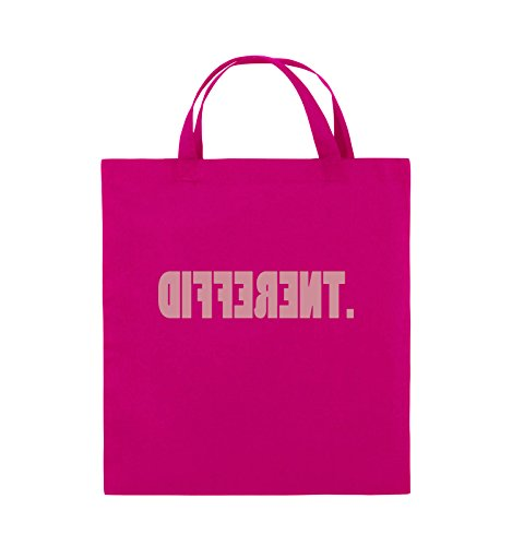 Comedy Bags - DIFFERENT - gespiegelt - Jutebeutel - kurze Henkel - 38x42cm - Farbe: Schwarz / Silber Pink / Rosa