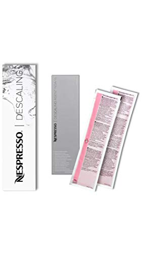 Nespresso descaler 3035/cbu-2 per essenza, lattissima, cube, citiz, pixie - due kits per la decalcificazione